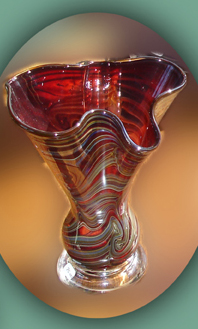 Fluted blown glass vase by Daniel Read (RI)