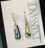 Dichroic glass earrings by Renaissance Glass Works (NC)