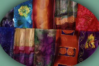 Hand painted scarves by Leave It To Weaver (MA)